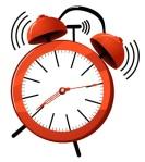 36756140 - illustration of a red ringing alarm clock.
