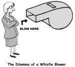 36657660 - cartoon of businesswoman, the dilemma of a whistle blower.