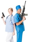 Smiling male doctor and nurse with guns isolated on white