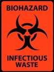 Biohazard Infectious Waste Safety Sign. Black on orange safety s