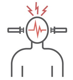 Electroconvulsive therapy. Vector icon.
