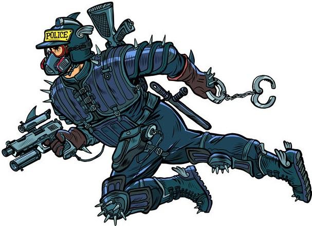 super cop from the future, cyberpunk. Police